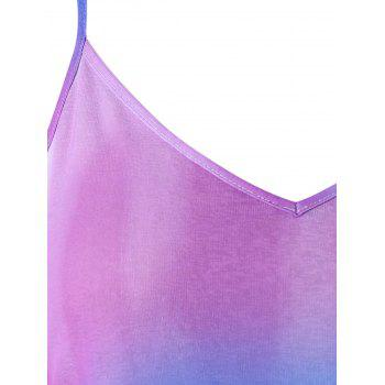 Plus Size Tie Dye Crescent Hem Slip Dress - multicolor 1X