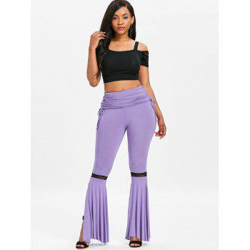 High Rise Side Slit Ruched Flare Pants - PURPLE M