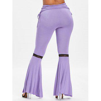 High Rise Side Slit Ruched Flare Pants - PURPLE 2XL