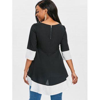 Contrast Trim High Low Blouse - BLACK M