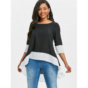 Contrast Trim High Low Blouse - BLACK 2XL