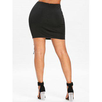 Lace Up Invisible Back Zip Mini Skirt - BLACK XL