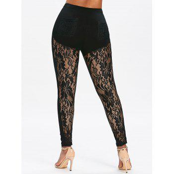 Sheer Lace Panel High Waisted Leggings - BLACK 2XL