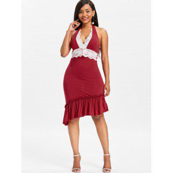 Halter Lace Insert Flounce Backless Party Dress - RED M