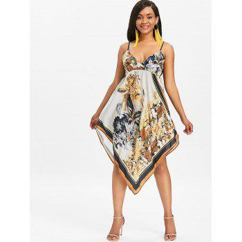 Asymmetrical Floral Empire Waist Midi Dress - multicolor M