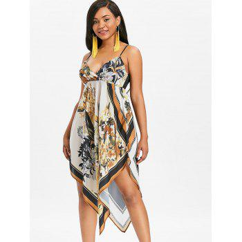 Asymmetrical Floral Empire Waist Midi Dress - multicolor L