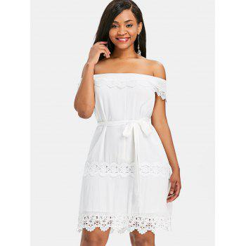 Off Shoulder Lace Insert Mini Dress - WHITE L