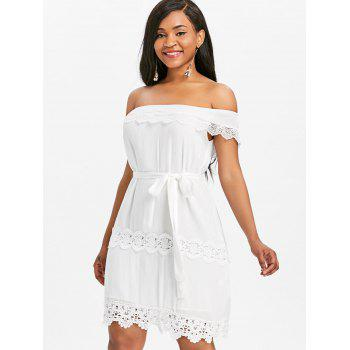 Off Shoulder Lace Insert Mini Dress - WHITE XL