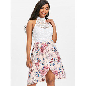 High Neck Sleeveless Flower Dress - WHITE M
