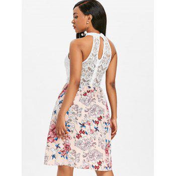 High Neck Sleeveless Flower Dress - WHITE 2XL