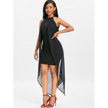 Sleeveless Chiffon Panel Dress - BLACK XL