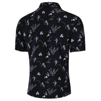 Allover Bird and Flower Print Button Up Shirt - multicolor 2XL