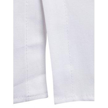 High Low Hem Double Zip Embellished Button Up Shirt - WHITE L