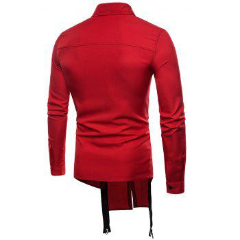 High Low Hem Double Zip Embellished Button Up Shirt - RED S
