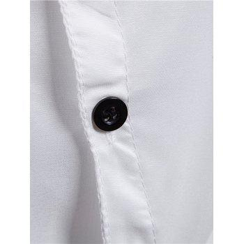 Irregular Placket Turndown Collar Shirt - WHITE M