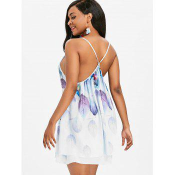 Leaf Printed Open Back Slip Dress - WHITE M