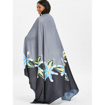 Flower Printed Beach Throw - BLACK XL