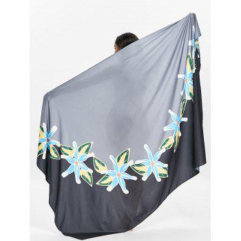 Flower Printed Beach Throw - BLACK 2XL