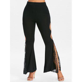 High Slit Cut Out Lace Insert Flare Pants - BLACK L