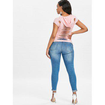 Twist Cut Out Ripped Tee - PIG PINK L