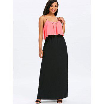 Two Tone Maxi Popover Dress - PINK M