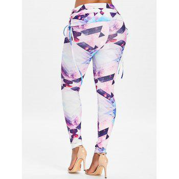 Geometry Printed High Waist Workout Leggings - WHITE XL
