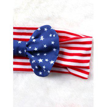 Bowknot Embellished American Flag Elastic Headband - COLORMIX ONE SIZE