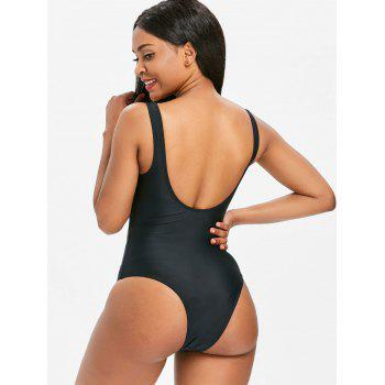 One Piece Tie Front Backless Swimwear - BLACK L