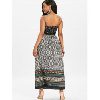 Lace Panel Tribal Print Bohemian Maxi Dress - multicolor M