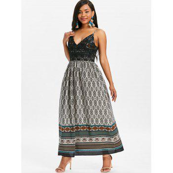Robe Bohémienne Longue à Imprimé Tribal - multicolor L