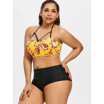 Plus Size Floral Halter Bikini Set - GOLDEN BROWN 1X