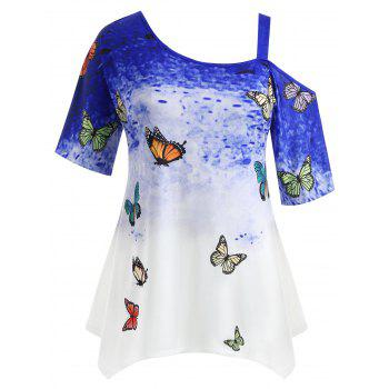 Plus Size Butterfly Asymmetrical T-shirt - BLUE 3X