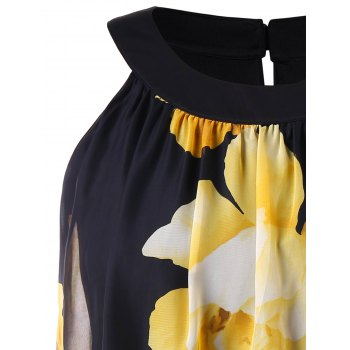 Back Keyhole Plus Size Floral Printed Dress - BLACK L