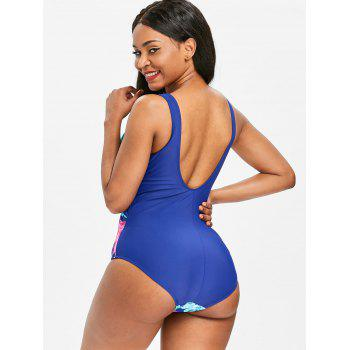 One Piece Floral Printed Low Back Swimwear - COBALT BLUE M