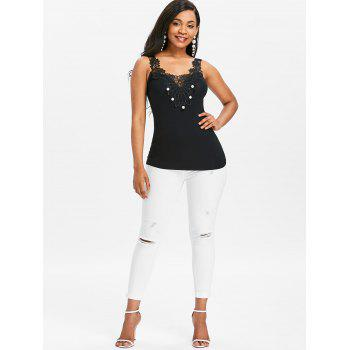 Lace Appliqued Pearled Tank Top - BLACK L