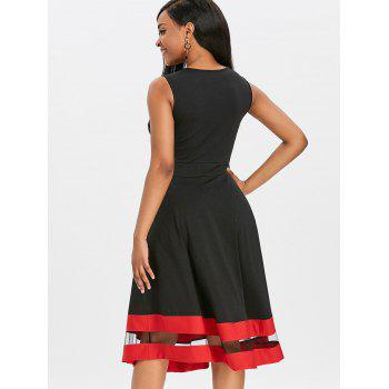 Mesh Panel Midi Flare Dress - BLACK XL