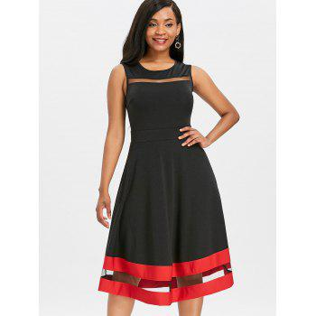 Mesh Panel Midi Flare Dress - BLACK 2XL