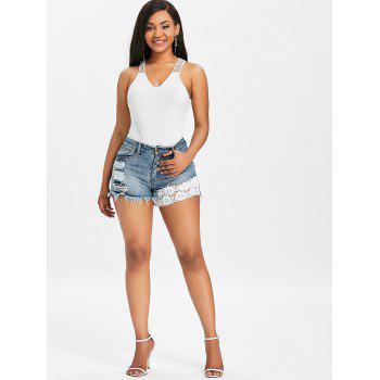 Lace Panel Ripped Frayed Denim Shorts - BABY BLUE XL