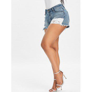 Lace Panel Ripped Frayed Denim Shorts - BABY BLUE 2XL