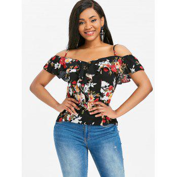 Floral Print Ruffle Cold Shoulder Blouse - multicolor L