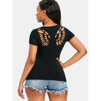 Butterfly Cut Out Back Tee - BLACK XL