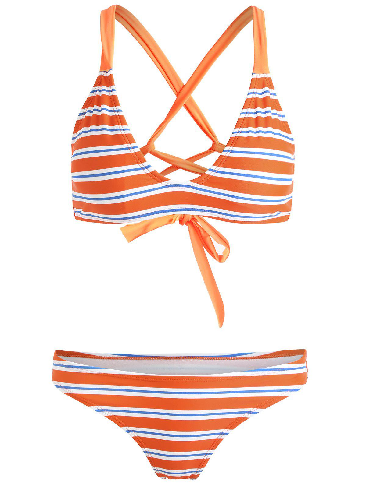 Criss Cross Back Striped Bikini - TANGERINE 2XL