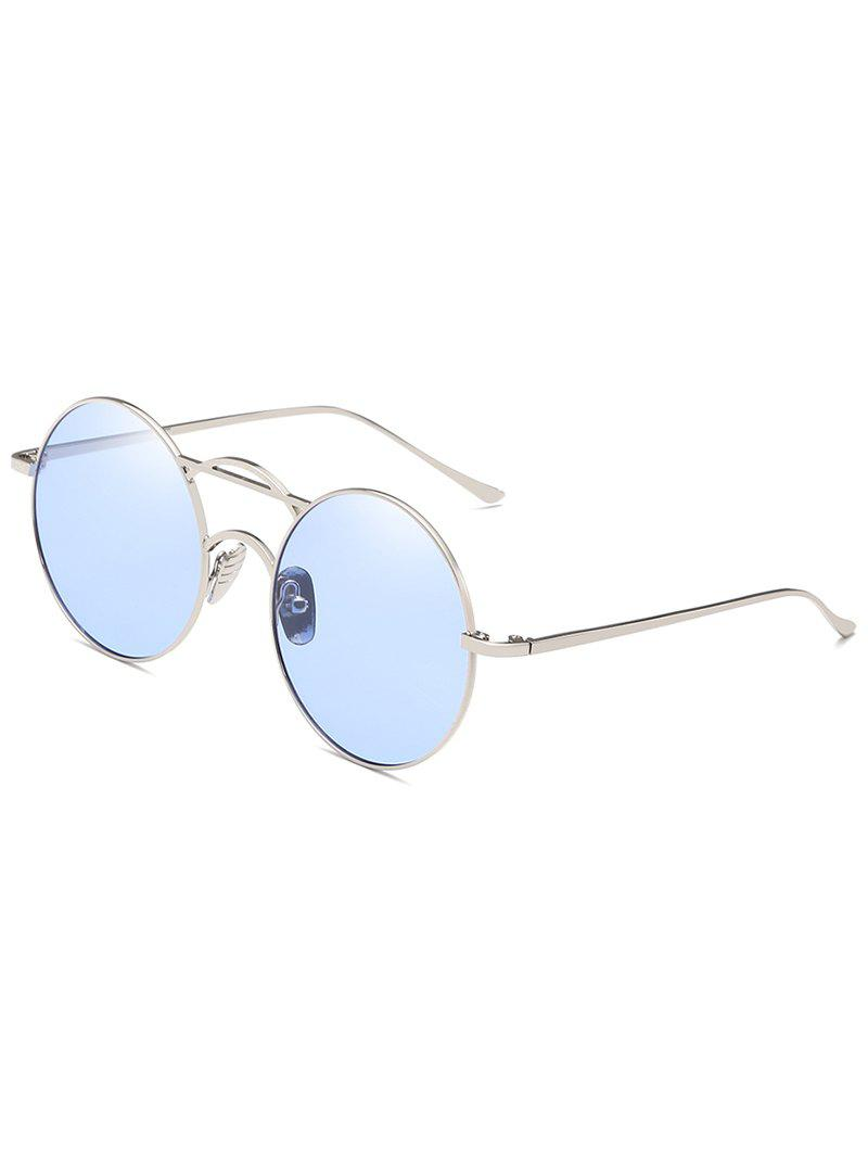 Metal Full Frame Top Bar Circle Sunglasses - LIGHT BLUE