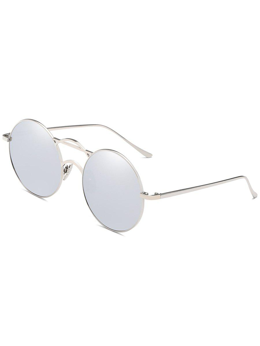 Metal Full Frame Top Bar Circle Sunglasses - PLATINUM