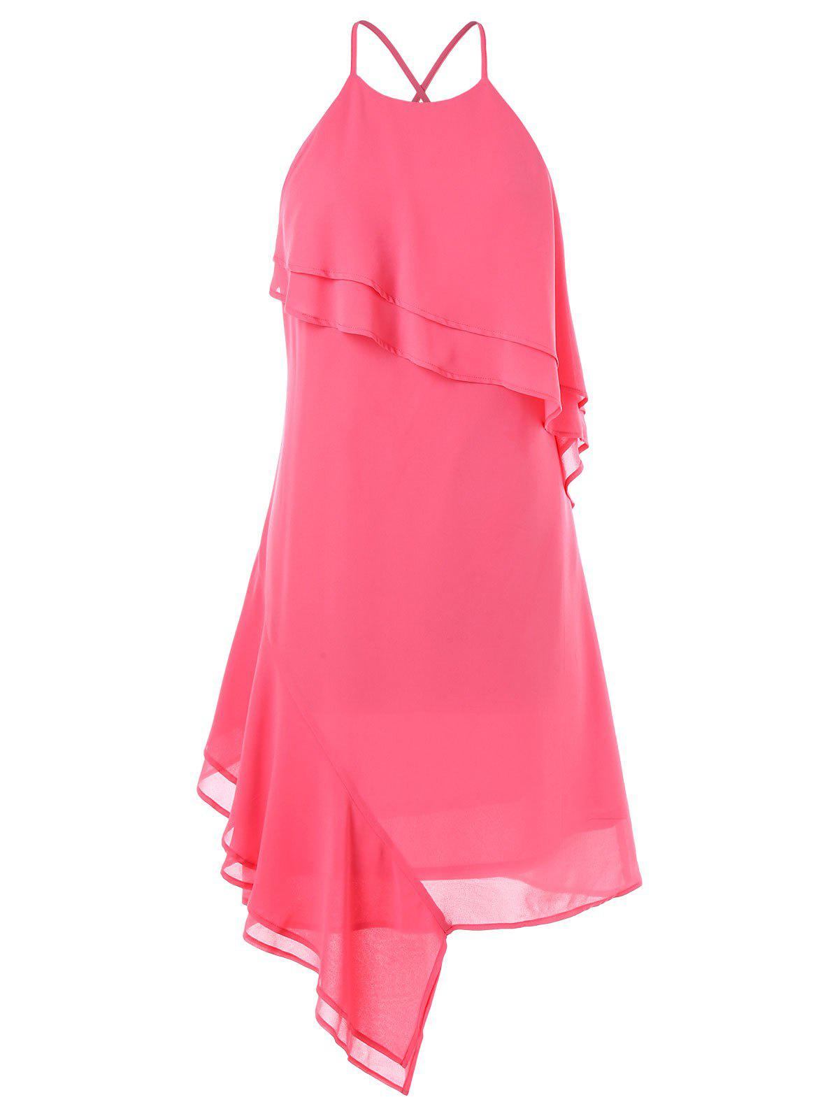 Asymmetrical Chiffon Slip Dress - DEEP PINK XL