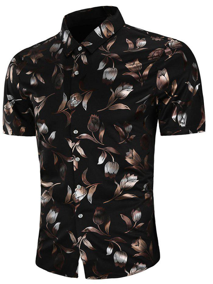 Short Sleeve Allover Rose Print Casual Shirt - BLACK L