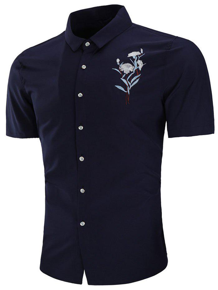 Turn Down Collar Embroidery Flower Shirt - NAVY BLUE L