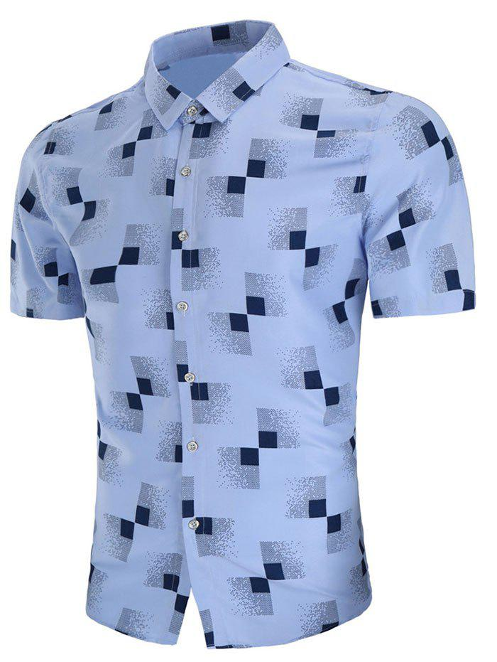 Short Sleeve Geometric Print Casual Shirt - SKY BLUE 3XL