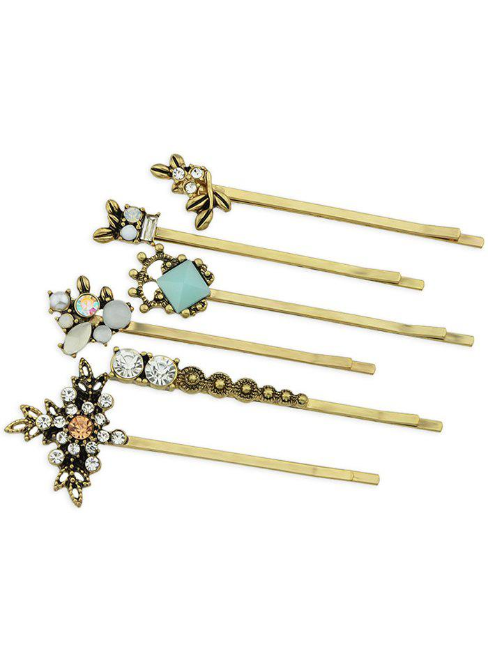6Pcs Faux Gem Rhinestone Inlaid Party Gift Hair Pin - GOLD