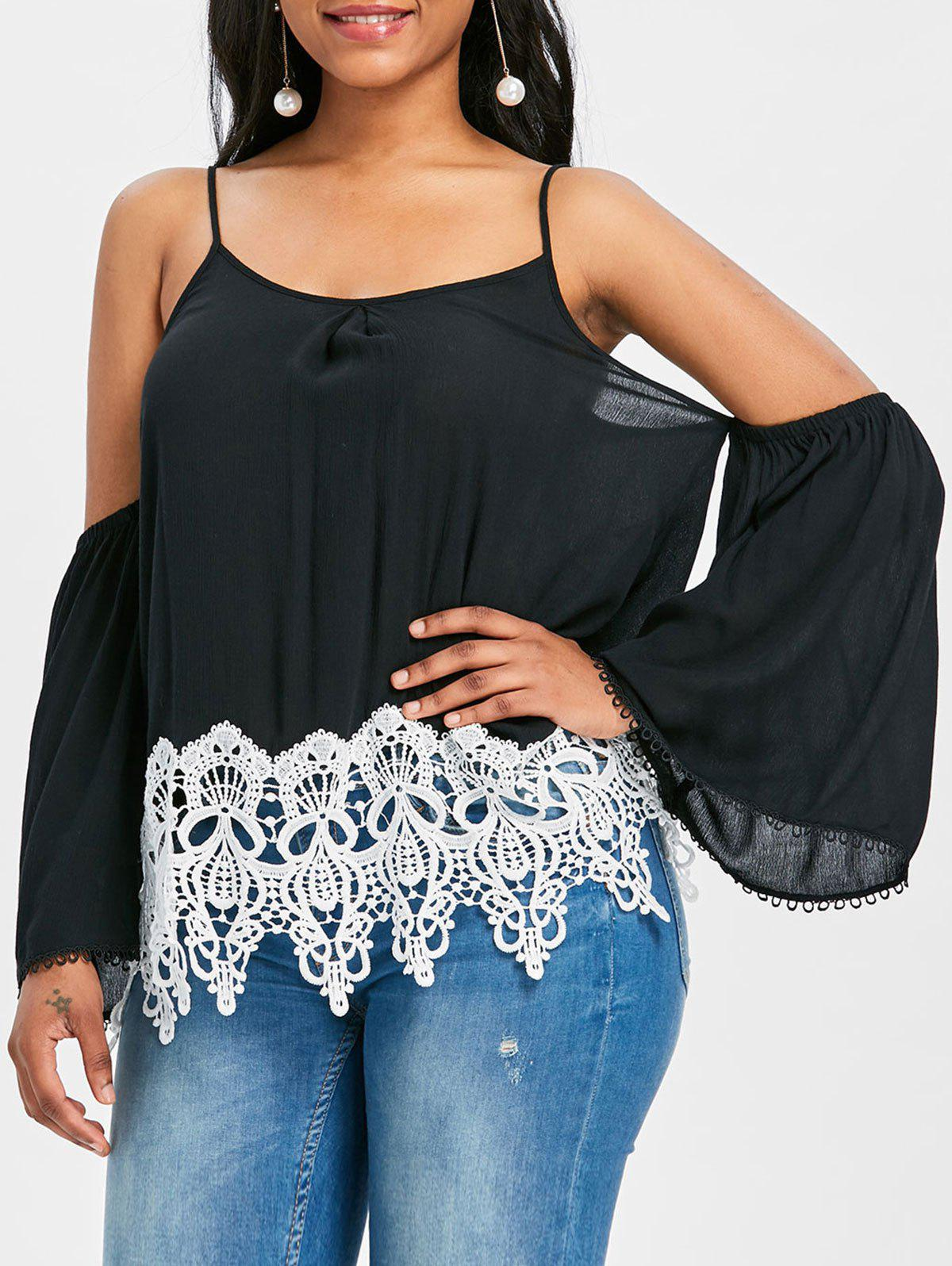 Crochet Trim Shoulder Cut Blouse